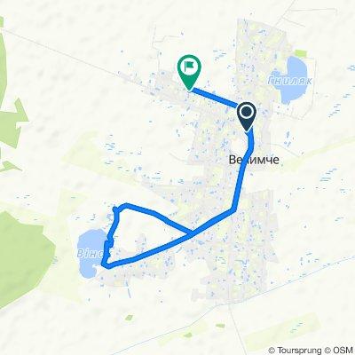 Route to вулиця Грабівська, Велимче