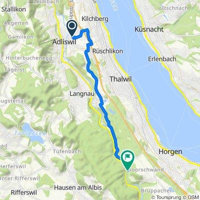 Krebsbachweg 2–12, Adliswil to Tabletenstrasse, Horgenberg