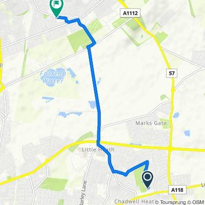 Lee Avenue 24, Dagenham to Hainault Health Centre (Stop U), Ilford