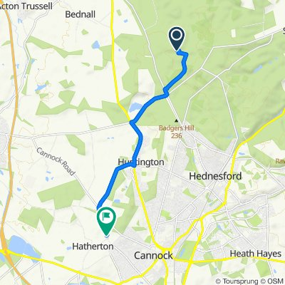 Route to Parkside Lane, Cannock