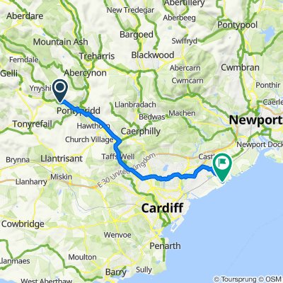 95 Trehafod Road, Pontypridd to Wentloog Road, Cardiff