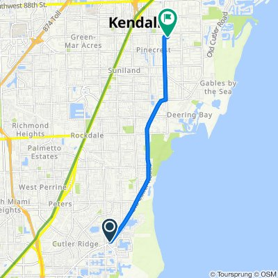 Old Cutler Rd, Cutler Bay to 6501 SW 106th St, Pinecrest
