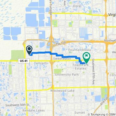 13380 SW First St, Miami to 9201 SW 13th St, Miami