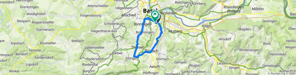 Dornacherstrasse 400, Basel nach Arlesheimerstrasse 7, Basel