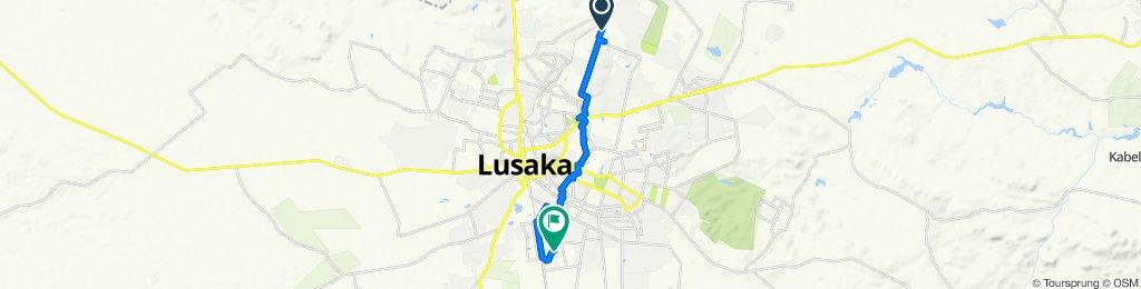 Route from Zambezi Road Extension, Lusaka