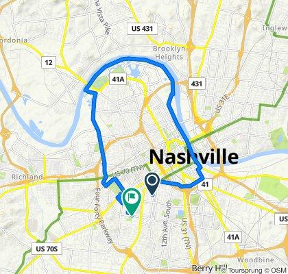 1006 18th Ave S, Nashville to 2400 Blakemore Ave, Nashville