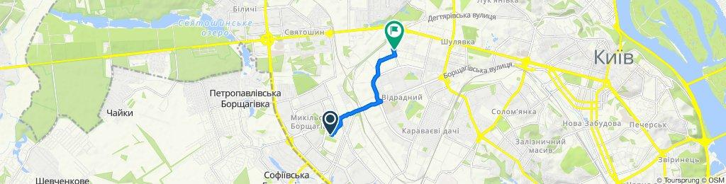 От вулиця Генерала Потапова 1В, Київ до вулиця Миколи Василенка 3, Київ