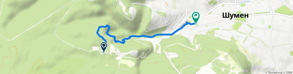 Route to ulitsa Rayna Knyaginya 22–28, Shumen