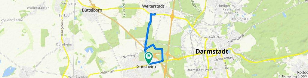 Gerade Fahrt in Griesheim