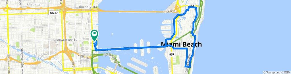 1801 NE Fourth Ave, Miami to 1900 N Bayshore Dr, Miami
