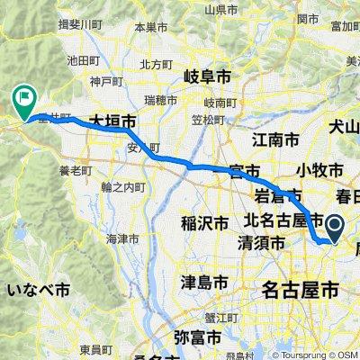 100 km round trip route Nagoya to Sekigahara