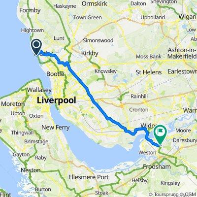 Route to 185 Calvers, Runcorn