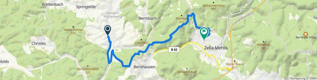 Hügelstraße 1A, Viernau nach August-Bebel-Straße 18, Zella-Mehlis