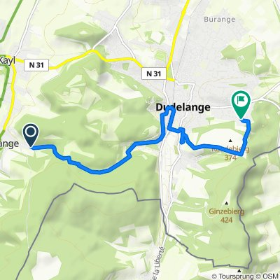 Gerade Fahrt in Düdelingen