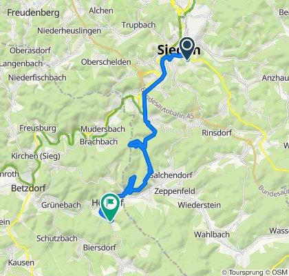 Fludersbach 39, Siegen nach San Fernando 19A, Herdorf