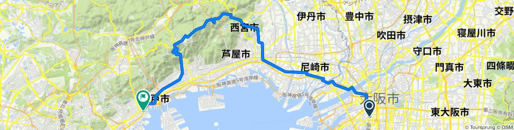 3-chōme 13, Osaka to 1-chōme 2, Kobe