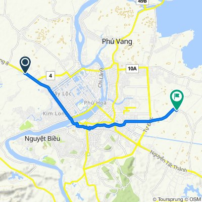 Cycling route from Culture Pham Travel to Thanh Toan Bridge