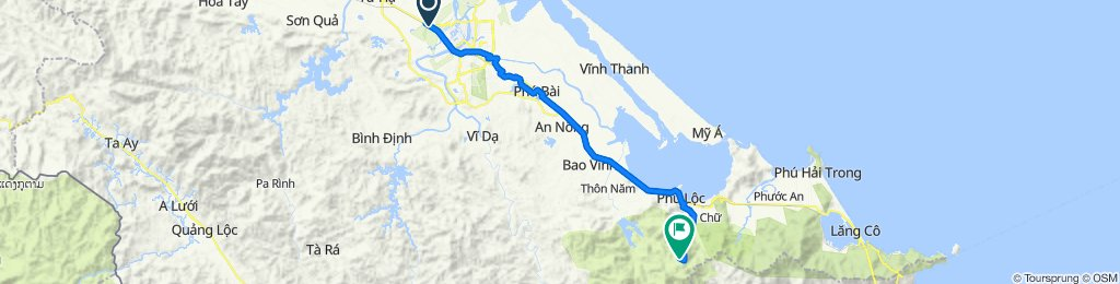 Cycling route from Culture Pham Travel to Bach Ma National Park
