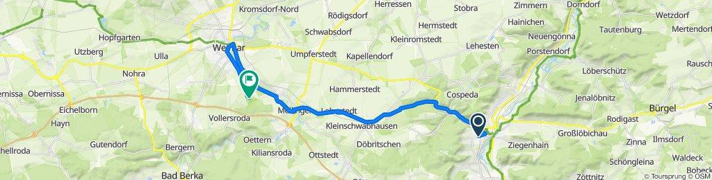 Einfache Fahrt von Jena zum Schloss Belvedere