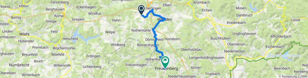 Am Nocken 1, Wenden to Oranienstraße 14, Freudenberg