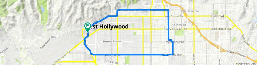 Sporty route in West Hollywood