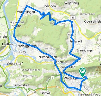 Wettingen-Lengnau-Würenlingen-Usiggenthal-Baden Wettingen (37km)