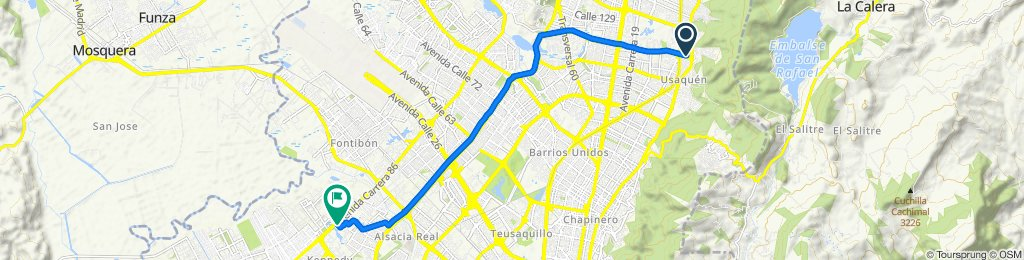Carrera 7B 127-16, Bogotá to Carrera 82B 8-07, Bogotá