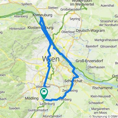 Biedermannsdorf- Wien-Klosterneuburg-Donauinsel-Schwechat- Biedermannsdorf