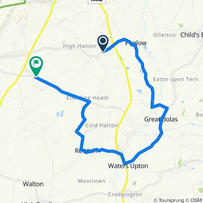 Route from Woodlands, Market Drayton