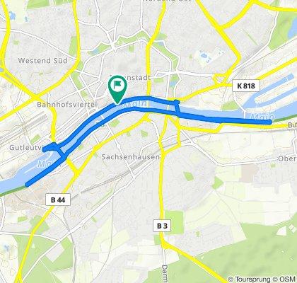Streckenkarte Laufrunde Frankfurt Main