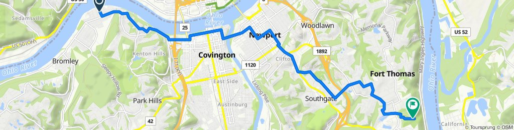 Route from 201–299 Forest Ave, Ludlow