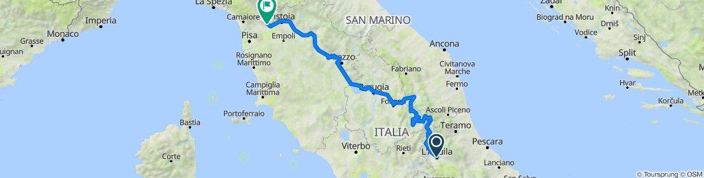 Aquila, Amatrice, Accumoli, Castelluccio, Cascia, Norcia, Preci, Pieve Torina, Foligno, Asisi, Perugia, Cortona, Arezzo, Firenze, Pescia