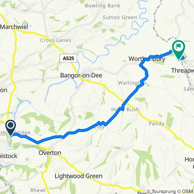 Route from A528, Wrexham