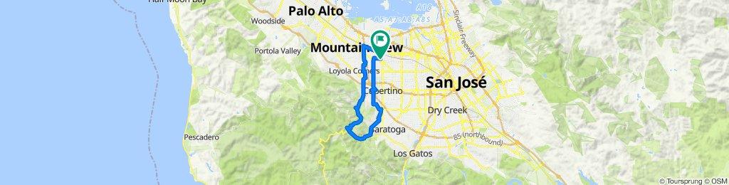 Sunnyvale  Evelyn - Stevens Creek Trail - Stevens Creek Reservoir - Hwy 9 - Prospect - Mary - Mathilda