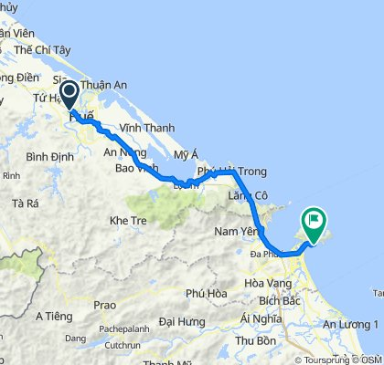 Cycling route from Culture Pham Travel to Linh Ung Pagoda