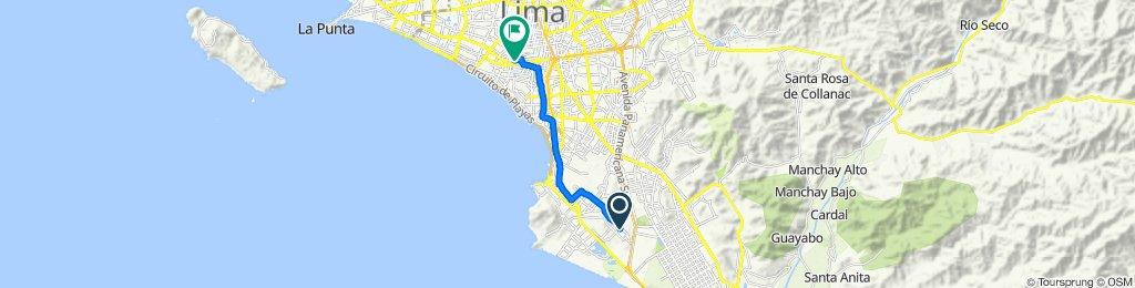 De Avenida San Juan 570, Chorrillos a Avenida Dos de Mayo 1502, San Isidro