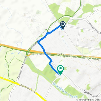 Route to Falmouth Road, Quakers Hill