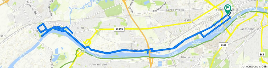 Restful route in Frankfurt am Main