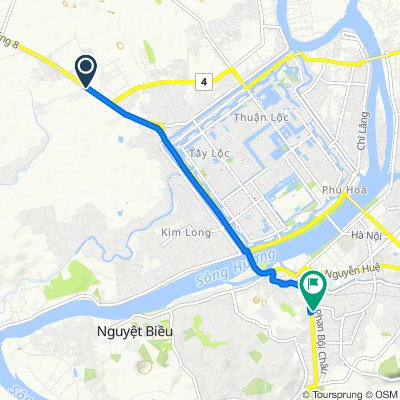 Cycling route from Culture Pham Travel to Tu Dam Pagoda