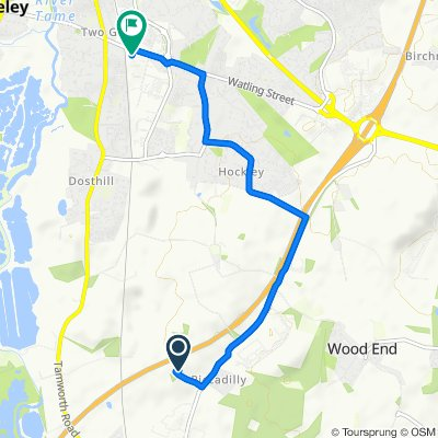 Route to 365 Watling Street, Tamworth