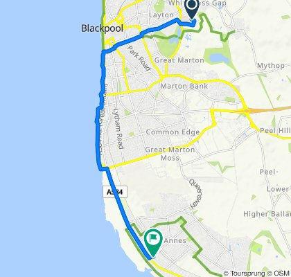 Route to 1 Orchard Road, Lytham St Anne's