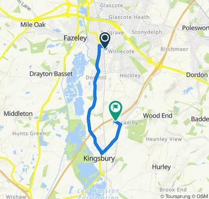Route from 365 Watling Street, Tamworth