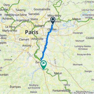 route vélo de Courtry à Le coudray Montceaux