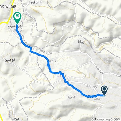 Route from Nablus