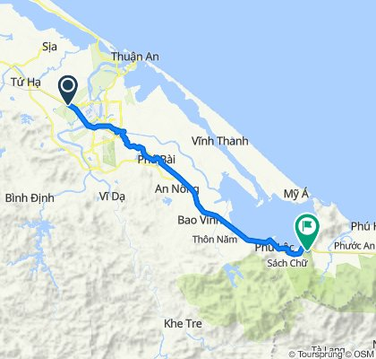 Cycling route from Culture Pham Travel to Elephant Springs Hue