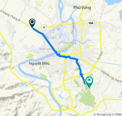 Cycling route from Culture Pham Travel to Huyen Tran Princess Temple Hue