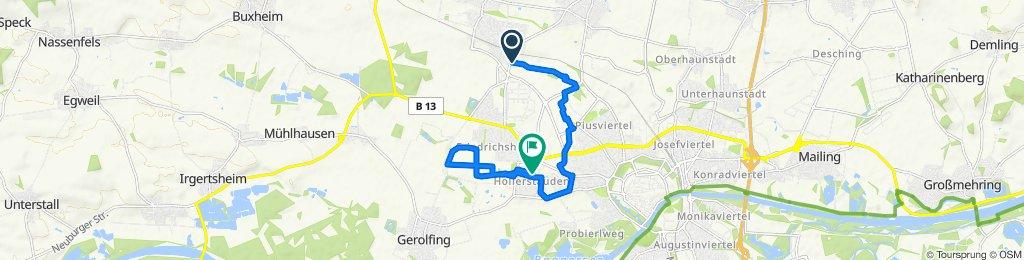 От Kraibergstraße 4, Gaimersheim до Bei der Hollerstaude 12, Ingolstadt