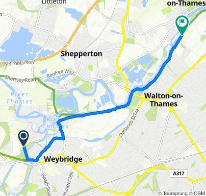 Hamm Court, Weybridge to Waterside Drive, Walton-on-Thames