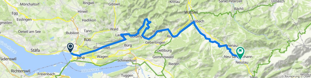 Variante 2: Jona-Ermenswil-Laupen-Goldingen-Atzmännig-Ricken-Nesslau