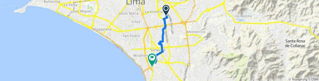 Ruta desde Jirón Rio Piura 415, Cercado de Lima